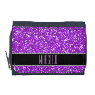 Chic Purple Glitter Monogrammed Wallets