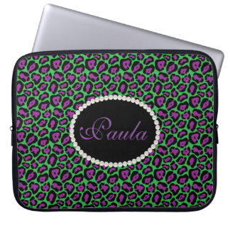 Chic Purple & Green Leopard Print  With Monogram Laptop Sleeve