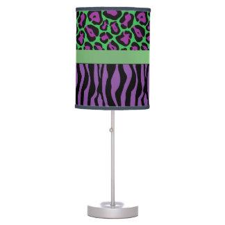 Chic Purple/Green Zebra & Leopard Lamp