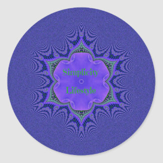 Chic Purple Lavender 'Simplicity Lifestyle' Classic Round Sticker