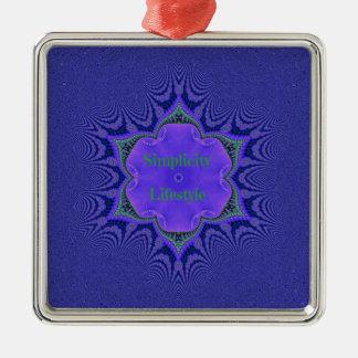 Chic Purple Lavender 'Simplicity Lifestyle' Metal Ornament