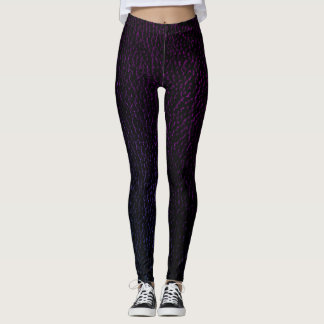 Chic Purple Leather Animal Print Legging
