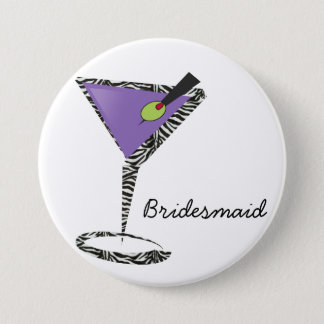 chic purple martini 3 inch round button