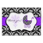 Chic Purple Polka Dot Damask Baby Shower Thank You