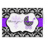 Chic Purple Polka Dot Damask Baby Shower Thank You Greeting Cards
