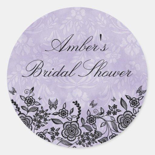 Chic Purple Rustic Floral Bridal Shower Sticker