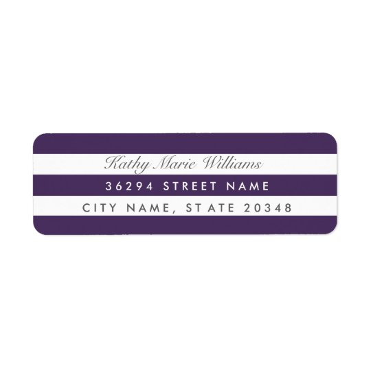 Chic Purple Striped Address Labels