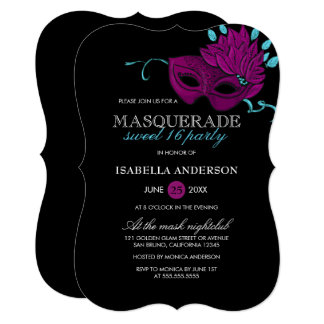 Chic Purple & Turquoise Masquerade Sweet 16 Party Card