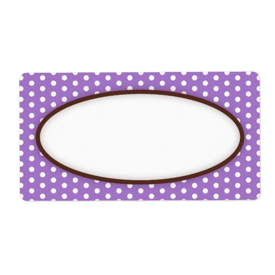 Chic purple violet polka dot dots pattern blank shipping label