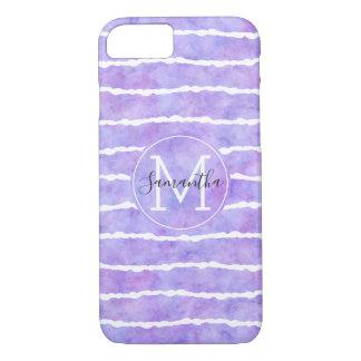 Chic Purple Watercolor Stripes Monogram Case-Mate iPhone Case