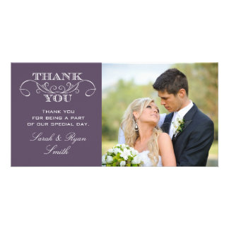 Chic Purple Wedding Photo Thank You Cards Customized Photo Card