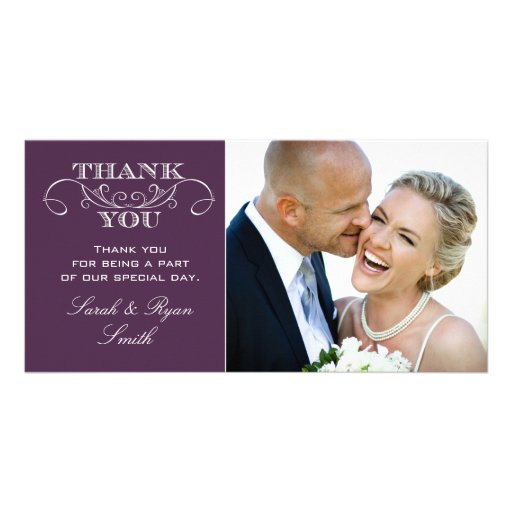 Chic Purple Wedding Photo Thank You Cards Personalized Photo Card