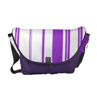 Chic purple white stripe pattern courier bag