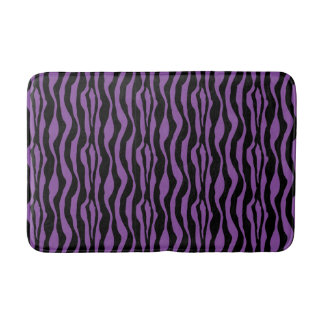 Chic Purple Zebra Print Bath Mat