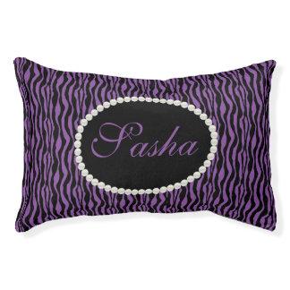 Chic Purple Zebra Print Pattern Name Monogram Pet Bed