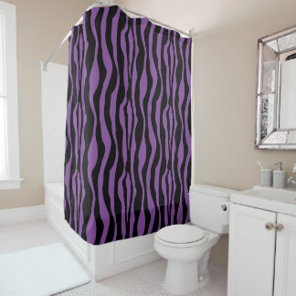 Chic Purple Zebra Print Shower Curtain