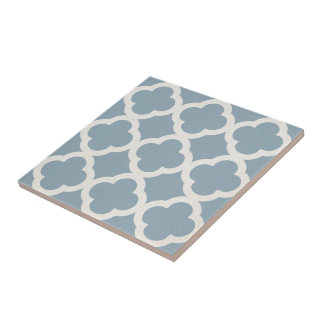 Chic Quatrefoil Pattern in Blue on Canvas Look Tile