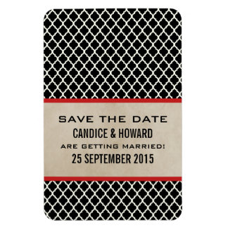Chic Quatrefoil Save the Date Magnet, Red