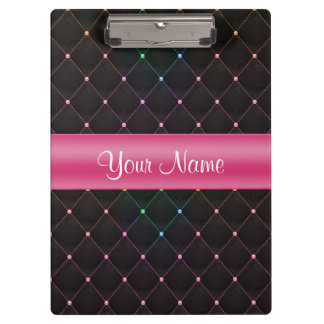 Chic Quilted Pink Black Colorful Personalized Clipboards