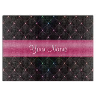 Chic Quilted Pink Black Colorful Personalized Cutting Board