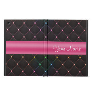Chic Quilted Pink Black Colorful Personalized iPad Air Case