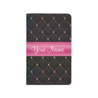 Chic Quilted Pink Black Colorful Personalized Journal