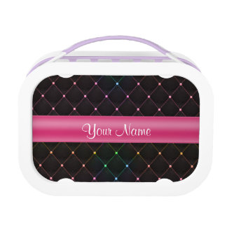 Chic Quilted Pink Black Colorful Personalized Lunchbox