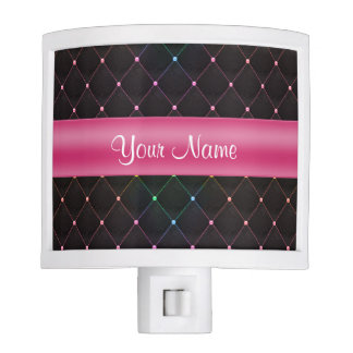 Chic Quilted Pink Black Colorful Personalized Nite Light