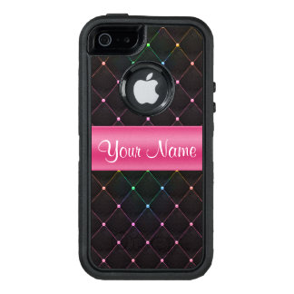 Chic Quilted Pink Black Colorful Personalized OtterBox Defender iPhone Case