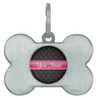 Chic Quilted Pink Black Colorful Personalized Pet ID Tag