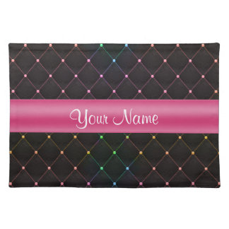 Chic Quilted Pink Black Colorful Personalized Placemat