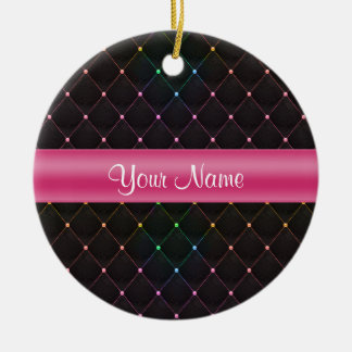 Chic Quilted Pink Black Colorful Personalized Round Ceramic Ornament
