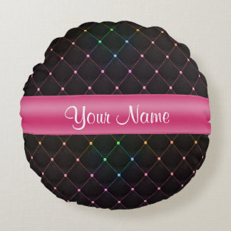 Chic Quilted Pink Black Colorful Personalized Round Pillow