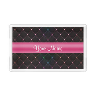 Chic Quilted Pink Black Colorful Personalized Serving Tray