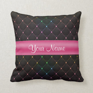 Chic Quilted Pink Black Colorful Personalized Throw Pillow