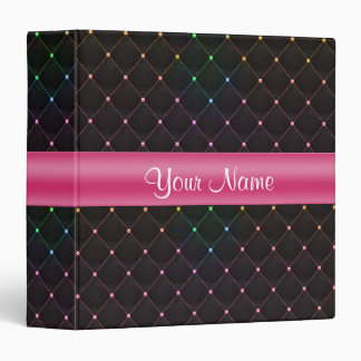 Chic Quilted Pink Black Colorful Personalized Vinyl Binders