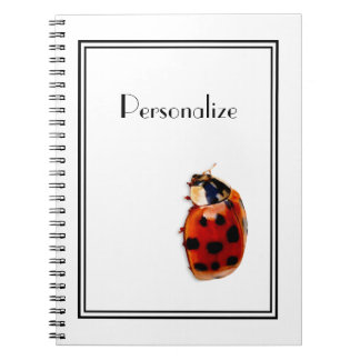 Chic Red and Black Spotted Ladybug With Name Spiral Notebook