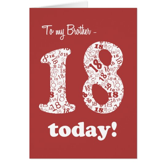 Chic Red and White 18th Birthday Card for Brother