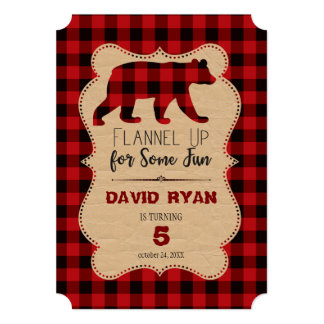 Chic Red Buffalo Plaid Birthday Any Age Card