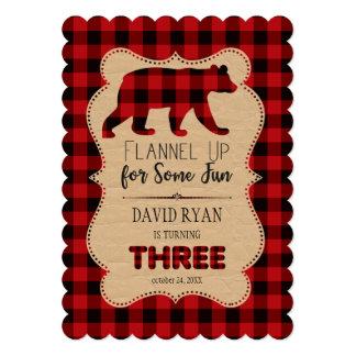 Chic Red Buffalo Plaid Birthday THREE Custom Card