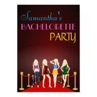 Chic Red Carpet Maroon Bachelorette Party Invites