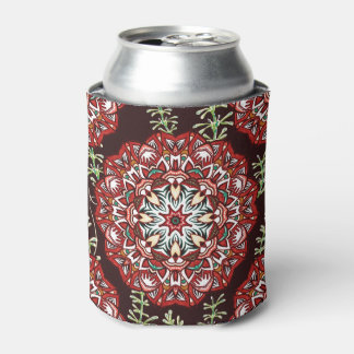 Chic red circular Flower Pattern Can Cooler