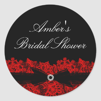 Chic Red Floral Lace Bridal Shower Sticker