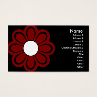 Chic Red Flower on Black Business Card