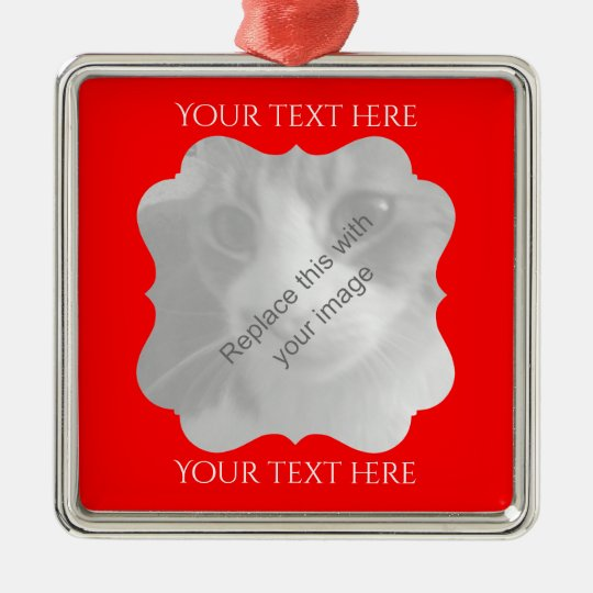 Chic red frame any occasion Silver-Colored square ornament
