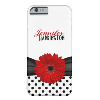 Chic Red Gerbera Daisy Polka Dot Barely There iPhone 6 Case
