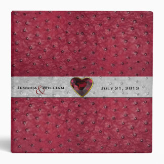 Chic Red Ostrich Leather Look Wedding Vinyl Binders