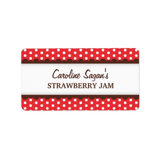 Chic red polka dot dots pattern canning jar label