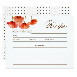 Chic Red Poppy Flowers Bridal Shower Recipe Card