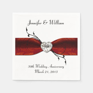 Chic Red Ribbon and Heart Custom Paper Napkins